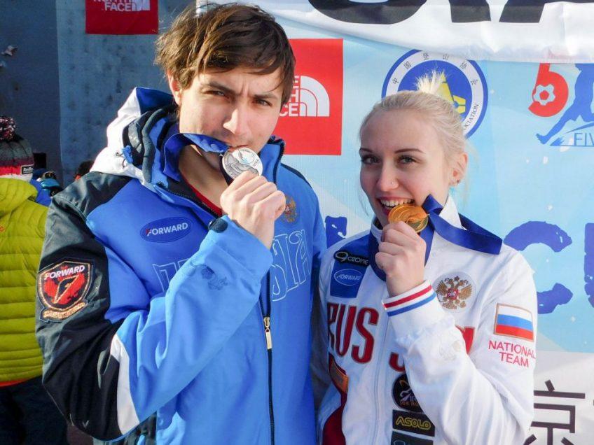 Екатерина Кощеева и Владимир Карташев одни из самых быстрых ледолазов в мире!